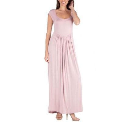24セブンコンフォート レディース ワンピース トップス Maxi Dress with Round Neck and Empire Waist