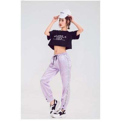 パンツ+トップス 2枚セット おしゃれ 長袖 レディース ロングパンツ ズボン ダンスウェア ヒップホップ 運動パンツ ダンスパンツ ダンスウェア ダンス 衣装 大きいサイズ ゆったり ストリート