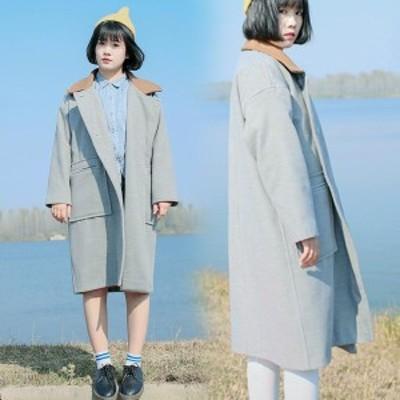 送料無料レディース ラシャコート 衿付きコート ウールコート Pコート オーバーコート 大きいサイズ 厚手 ヴィンテージ レトロ アウトド