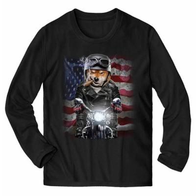 【ワルな 柴犬 ドッグ 犬 いぬ バイク 星条旗 アメリカ】メンズ 長袖 Tシャツ by Fox Republic