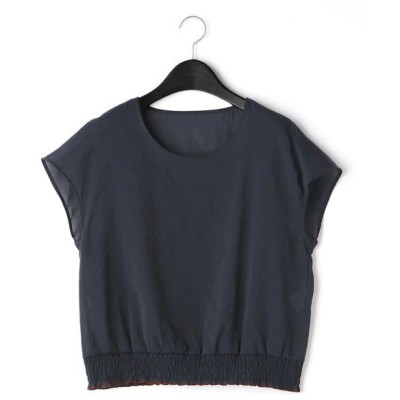 COMME CA/コムサ 裾シャーリング ブラウス ネイビー 17号