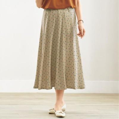 ウエストらくらくスカート(ウエスト総ゴム・選べる2レングス・洗濯機OK)/X(水玉)/LL(総丈68)