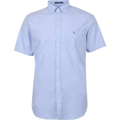 ガント Gant メンズ 半袖シャツ ワイシャツ トップス Short Sleeve Oxford Shirt Pale Blue