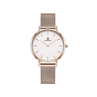 Starking MinmalistメッシュレディースステンレススチールUltra Thinローズゴールドbl0997アナログ日本クォーツドレス腕時計好評販売中