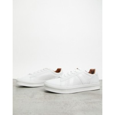 リバーアイランド メンズ スニーカー シューズ River Island RVR mesh sneakers in white White