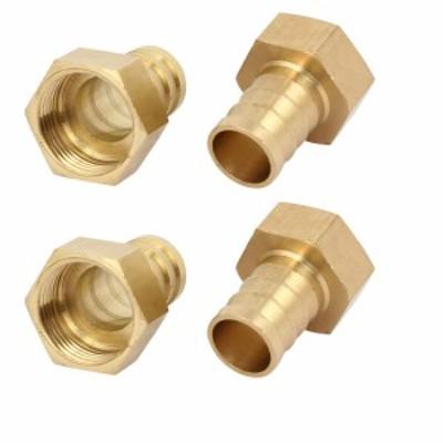 uxcell ホースバーブ継手 カプラ コネクタ アダプタ 真鍮材質 ホース外径19mm めねじ径24.4mm ストレートタイプ 4個入り