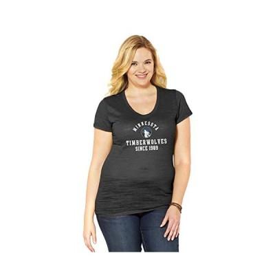 NBAレディースCurvy Multicount半袖VネックTシャツ ブラック