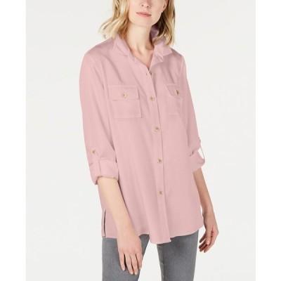 チャータークラブ カットソー トップス レディース Utility Shirt,  Misty Pink