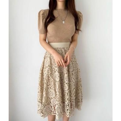 春と秋新しい半袖ソリッドプルオーバーニットトップ+ハイウエストレースかぎ針編みスカートセット女性2020韓国ファッション