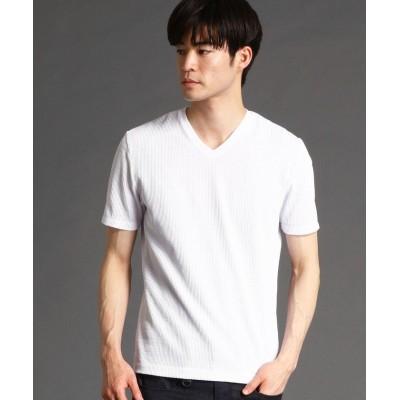 【ハイダウェイニコル】 ナロ−サッカ−ストライプVネックTシャツ メンズ 09ホワイト 50(LL) HIDEAWAYS NICOLE