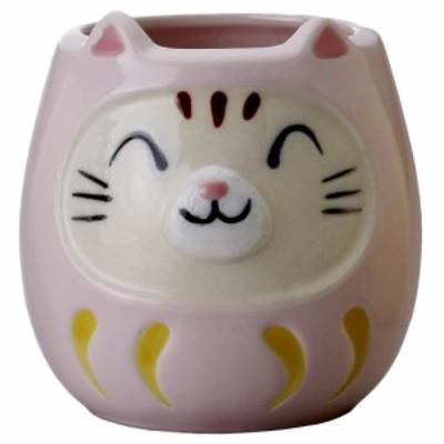 猫 猫柄 丸いボディでかわいい コーヒーカップ 贈り物/ ネコ達磨マグ(桃) /カップ だるま 幸運 開運 商売繁盛 縁起物 招き猫