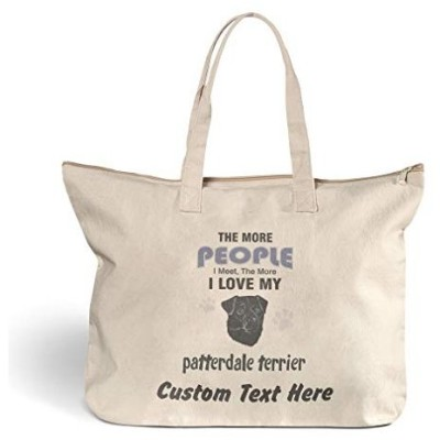 Canvas Beach Tote More People Meet Patterdale Terrier Dog Shopping Bags Zippered Personalized Text Here【並行輸入品】