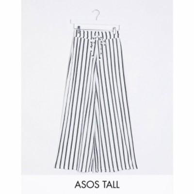 エイソス ASOS Tall レディース ボトムス・パンツ キュロット ASOS DESIGN Tall textured culotte in stripe print マルチカラー