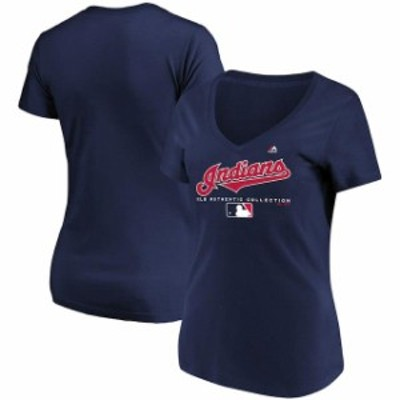 Majestic マジェスティック スポーツ用品  Majestic Cleveland Indians Womens Navy Authentic Team Drive T-Shirt