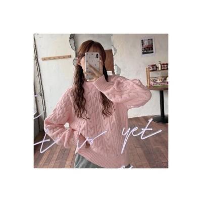 【送料無料】ピンクツイストセーター 女 秋冬 年 韓国風 デザイン 感 小 ルース | 364331_A64367-2578933