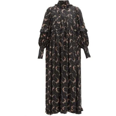 パコラバンヌ Paco Rabanne レディース ワンピース ミドル丈 ワンピース・ドレス Ruffled floral-print satin midi dress Black