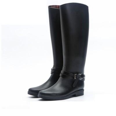 レインブーツ レインシューズ ラバーブーツ ジョッキーブーツ 長靴 雨靴 梅雨 スノーブーツ ロング ブーツ 大きい 防水 撥水 ブラック