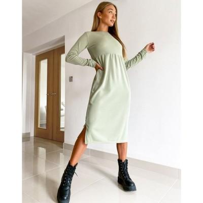 ストリートコレクティブ ミディドレス レディース Street Collective midi dress in sage green  エイソス ASOS sale グリーン 緑