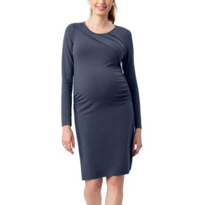 ストゥアウェイ・スウィーツ ワンピース トップス レディース Sunburst Long Sleeve Body-Con Maternity Dress Blue Steel
