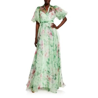 バッドグレイミッシカ レディース ワンピース トップス Hibiscus Printed Organza Puff-Sleeve Gown