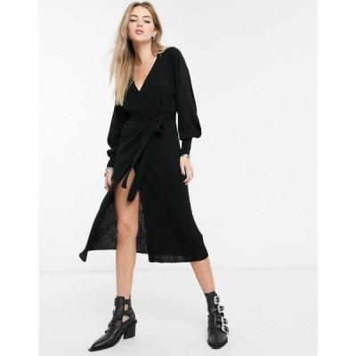エイソス ASOS DESIGN レディース ワンピース ラップドレス ワンピース・ドレス knitted wrap dress with volume sleeve ブラック