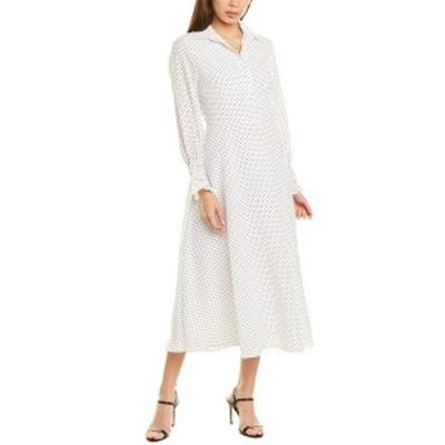 タウワジ レディース ワンピース トップス TOWOWGE Midi Dress white with black dots
