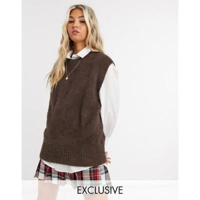 コリュージョン レディース カットソー トップス COLLUSION fluffy knitted tank in brown Brown