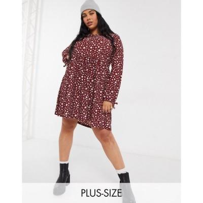 ウェンズデーガール ドレス 大きいサイズ レディース Wednesday's Girl Curve long sleeve smock dress in ditsy floral エイソス ASOS