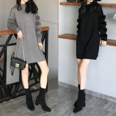 秋冬 秋冬新作 ニットワンピース 大きいサイズ ショート丈 無地 レディース ゆったり 袖コン 長袖 もこもこ 韓国 かわいい