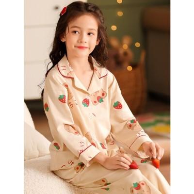 子供パジャマ キッズパジャマ 春秋 女の子 桃柄 2色 可愛い 2点セット 長袖 開襟 おしゃれ カジュアルキッズウエア 子とも服 子ともパジャマ 綿パジャマ
