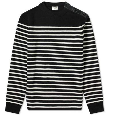 イヴ サンローラン Saint Laurent メンズ ニット・セーター トップス Button Shoulder Stripe Knit Black/Natural