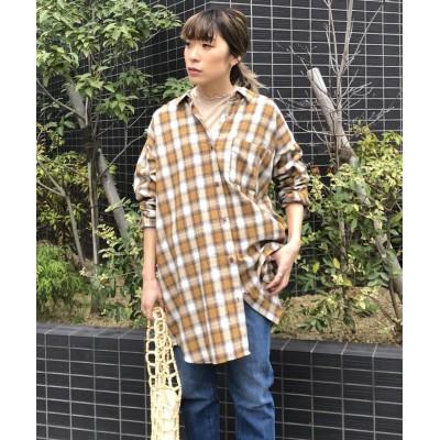【リップスター】 バックボタンチェックチュニックシャツ レディース ダーク ベージュ M LIPSTAR