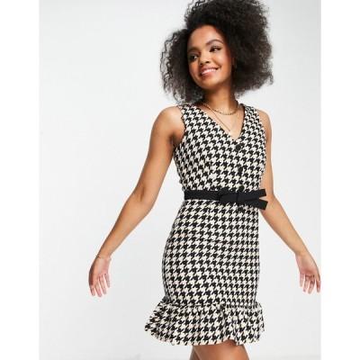 リトルミストレス ミディドレス レディース Little Mistress check belted boucle mini dress with peplum in monochrome エイソス ASOS