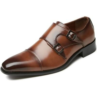 [フォクスセンス] ビジネスシューズ 軽量・撥水 モンクストラップ ドレスシューズ ストレートチップ 紳士靴 メンズ ブラウン 27.0cm 933-