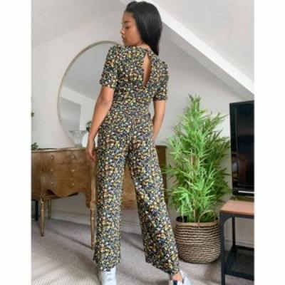 エイソス ASOS DESIGN レディース オールインワン ジャンプスーツ ワンピース・ドレス twist front jumpsuit in ditsy floral print フロ