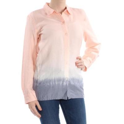 レディース 衣類 トップス DKNY Womens Pink Color Block Long Sleeve Collared Button Up Top Size: M ブラウス&シャツ