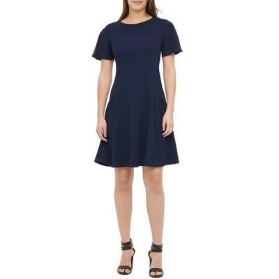 ダナ キャラン ニューヨーク レディース ワンピース トップス Pleated Short Sleeve Scuba Crepe Fit & Flare Dress