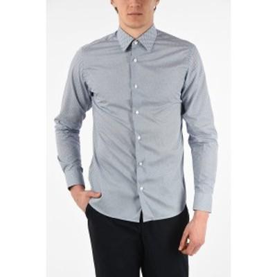 ERMENEGILDO ZEGNA/エルメネジルド ゼニア Blu, Fantasia geometrica メンズ ZZEGNA Patterned WRINKLE FREE Slim Fit Shirt dk