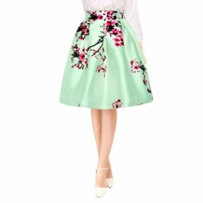 Allegra K プリーツ Aラインスカート ミディスカート 花柄 ハイウエスト エレガント パーティー レディース グリーン XS
