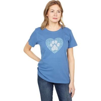 ライフイズグッド Life is Good レディース Tシャツ トップス Crusher(TM) Tee Animal Heart Vintage Blue