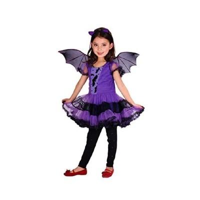 こうもり 紫色 羽付き 120cm ハロウィン コスプレ 女の子 魔女 衣装 仮装 キッズコスチューム 子供 カチューシャ パープル 悪魔