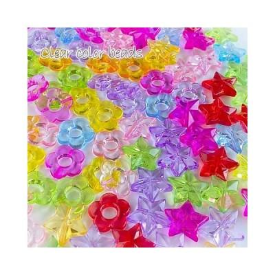 (100g)クリアカラービーズ 全2種類 ミックスカラー 100g/プラスチック/フラワー/スター/キッズ/ピアス/アクセサリーパーツ/2002/beads776