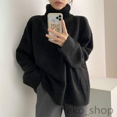 スリット セーター レディース 長袖 フリーサイズ ニットセーター ビッグシルエット カットソー ニットウェア ゆったり 韓国風 暖かい 通勤 女性用 秋冬おしゃれ