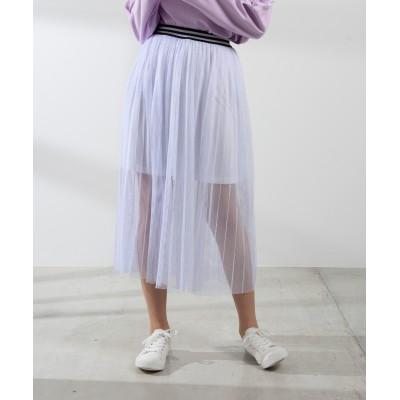 メッシュプリーツラインリブロングスカート