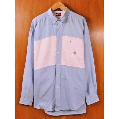 ビッグサイズ TOMMY HILFIGER トミーヒルフィガー 胸切り替え オックスフォード 長袖シャツ 2XL相当