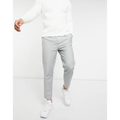 エイソス ASOS DESIGN メンズ ボトムス・パンツ Asos Design Tapered Trouser In Cotton Linen グレー