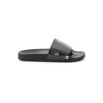MARCELO BURLON/マルセロ バーロン Black Marcelo burlon feather print slides メンズ 春夏2021 CMIC001S21PLA002 ik