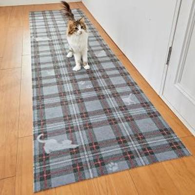 PEPPY(ペピイ) タータンキャットはっ水マット・廊下敷 レッド・65×120 マット・カーペット 猫用