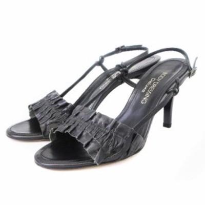 【中古】ボディドレッシングデラックス サンダル ストラップ レザー 黒 ブラック 23.5 シューズ 靴 レディース