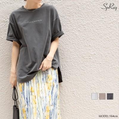 SpRay ピグメント刺繍Tシャツ ベージュ M レディース